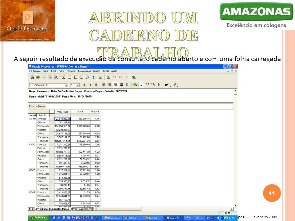 Leandro Lopes T.I. Fevereiro 2009 A seguir resultado da execução da consulta, o caderno aberto e com uma folha carregada 41
