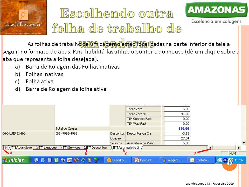 Leandro Lopes T.I. Fevereiro 2009 As folhas de trabalho de um caderno estão localizadas na parte inferior da tela a seguir, no formato de abas. Para h