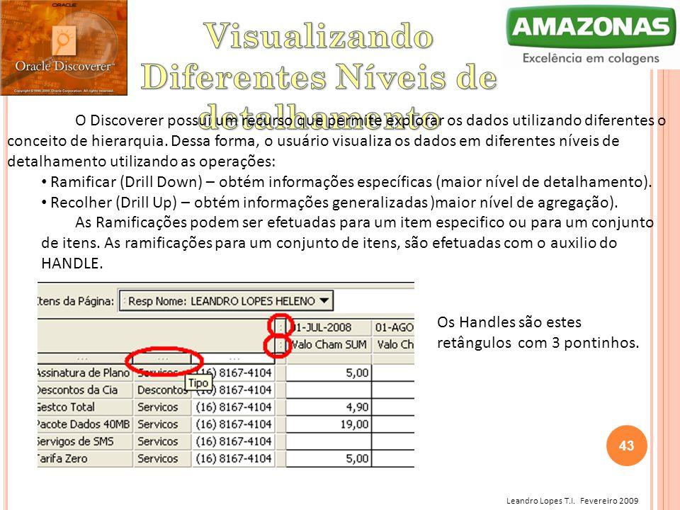 Leandro Lopes T.I. Fevereiro 2009 O Discoverer possui um recurso que permite explorar os dados utilizando diferentes o conceito de hierarquia. Dessa f
