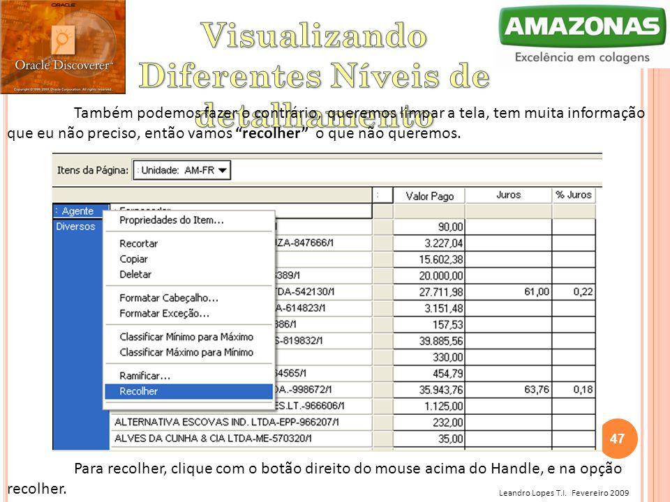 """Leandro Lopes T.I. Fevereiro 2009 Também podemos fazer o contrário, queremos limpar a tela, tem muita informação que eu não preciso, então vamos """"reco"""
