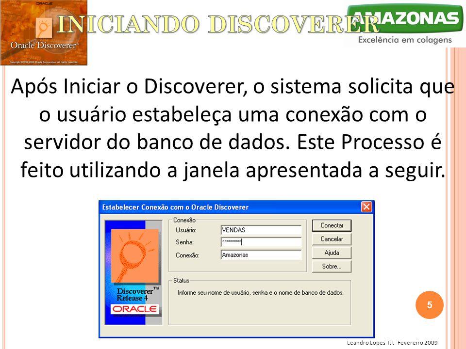 Leandro Lopes T.I. Fevereiro 2009 Após Iniciar o Discoverer, o sistema solicita que o usuário estabeleça uma conexão com o servidor do banco de dados.