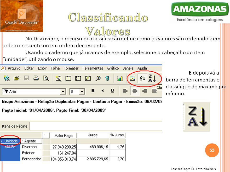 Leandro Lopes T.I. Fevereiro 2009 No Discoverer, o recurso de classificação define como os valores são ordenados: em ordem crescente ou em ordem decre