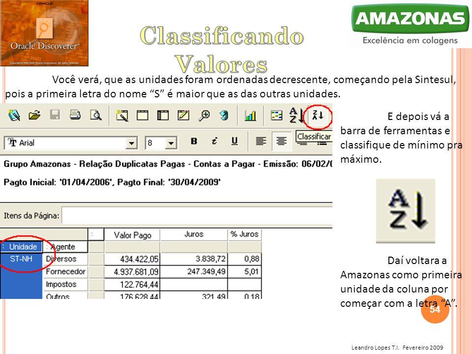 """Leandro Lopes T.I. Fevereiro 2009 Você verá, que as unidades foram ordenadas decrescente, começando pela Sintesul, pois a primeira letra do nome """"S"""" é"""