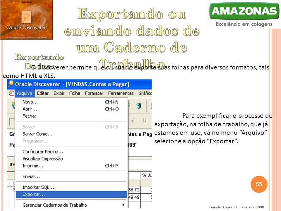 Leandro Lopes T.I. Fevereiro 2009 O Discoverer permite que o usuário exporte suas folhas para diversos formatos, tais como HTML e XLS. Para exemplific