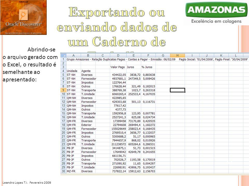 Leandro Lopes T.I. Fevereiro 2009 Abrindo-se o arquivo gerado com o Excel, o resultado é semelhante ao apresentado: 57
