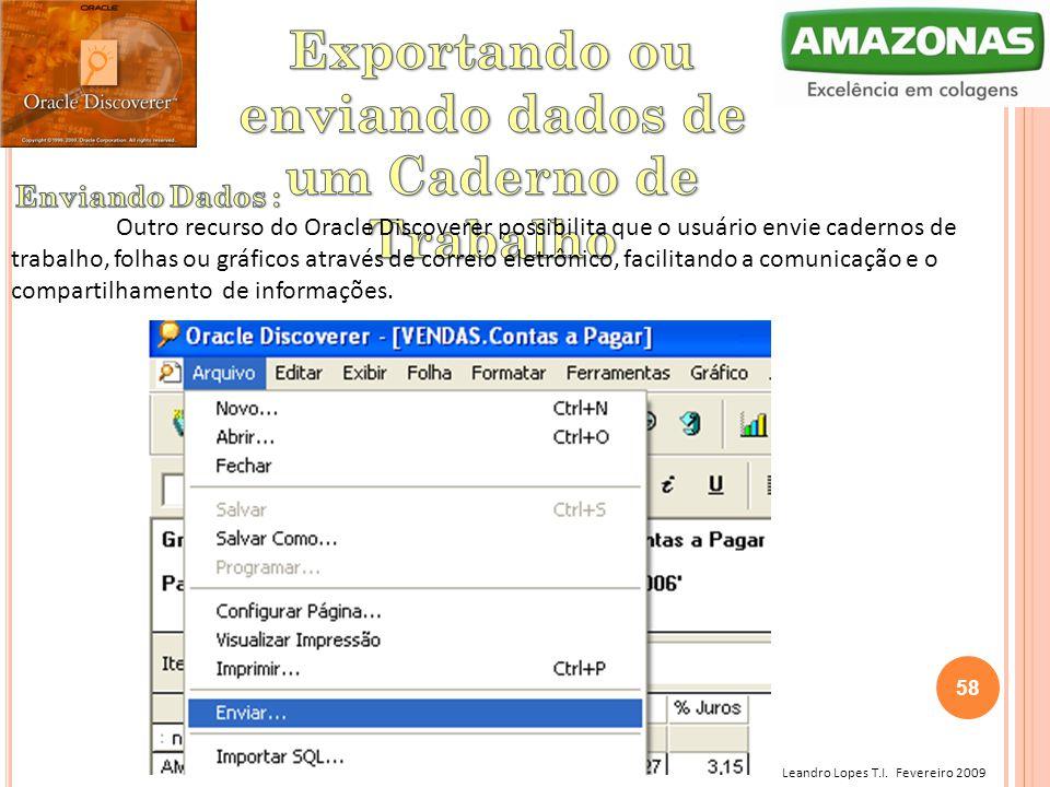 Leandro Lopes T.I. Fevereiro 2009 Outro recurso do Oracle Discoverer possibilita que o usuário envie cadernos de trabalho, folhas ou gráficos através