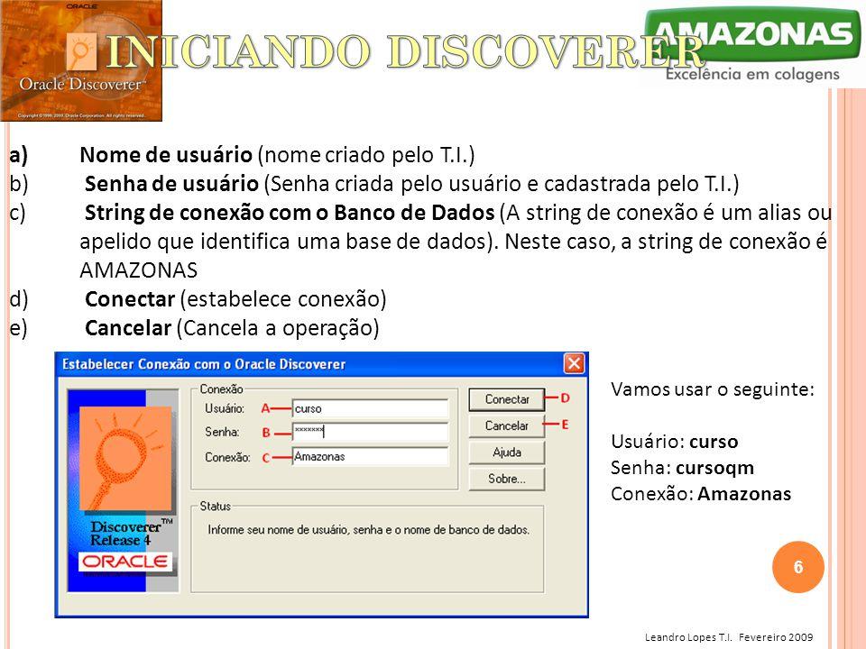 Leandro Lopes T.I. Fevereiro 2009 a)Nome de usuário (nome criado pelo T.I.) b) Senha de usuário (Senha criada pelo usuário e cadastrada pelo T.I.) c)