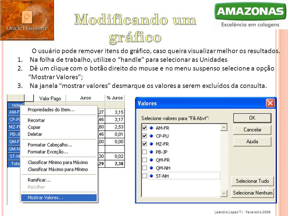 Leandro Lopes T.I. Fevereiro 2009 O usuário pode remover itens do gráfico, caso queira visualizar melhor os resultados. 1. Na folha de trabalho, utili