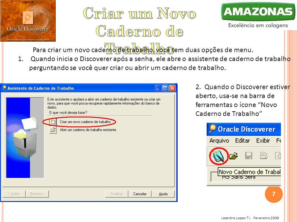 Leandro Lopes T.I. Fevereiro 2009 Para criar um novo caderno de trabalho, você tem duas opções de menu. 1. Quando inicia o Discoverer após a senha, el