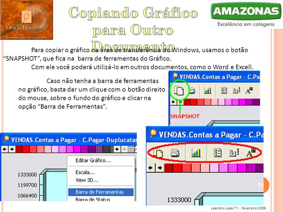 """Leandro Lopes T.I. Fevereiro 2009 Para copiar o gráfico na área de transferência do Windows, usamos o botão """"SNAPSHOT"""", que fica na barra de ferrament"""