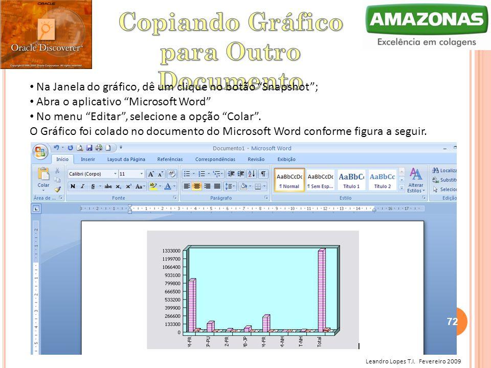 """Leandro Lopes T.I. Fevereiro 2009 Na Janela do gráfico, dê um clique no botão """"Snapshot""""; Abra o aplicativo """"Microsoft Word"""" No menu """"Editar"""", selecio"""