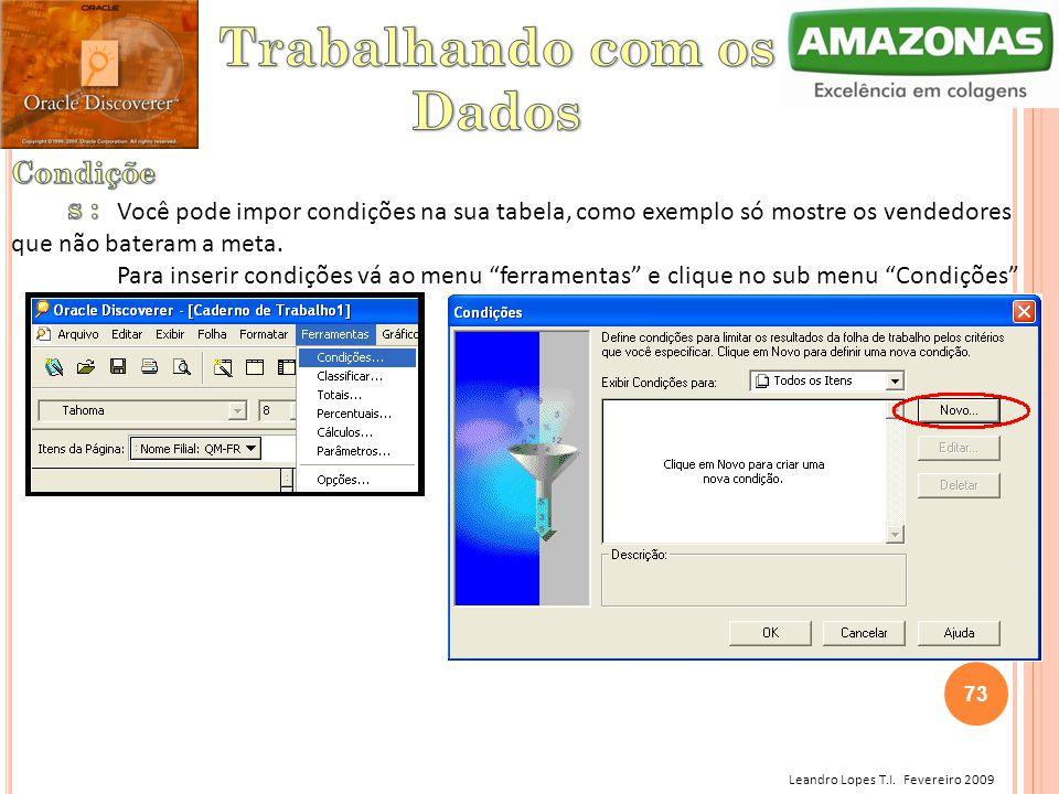 Leandro Lopes T.I. Fevereiro 2009 Você pode impor condições na sua tabela, como exemplo só mostre os vendedores que não bateram a meta. Para inserir c