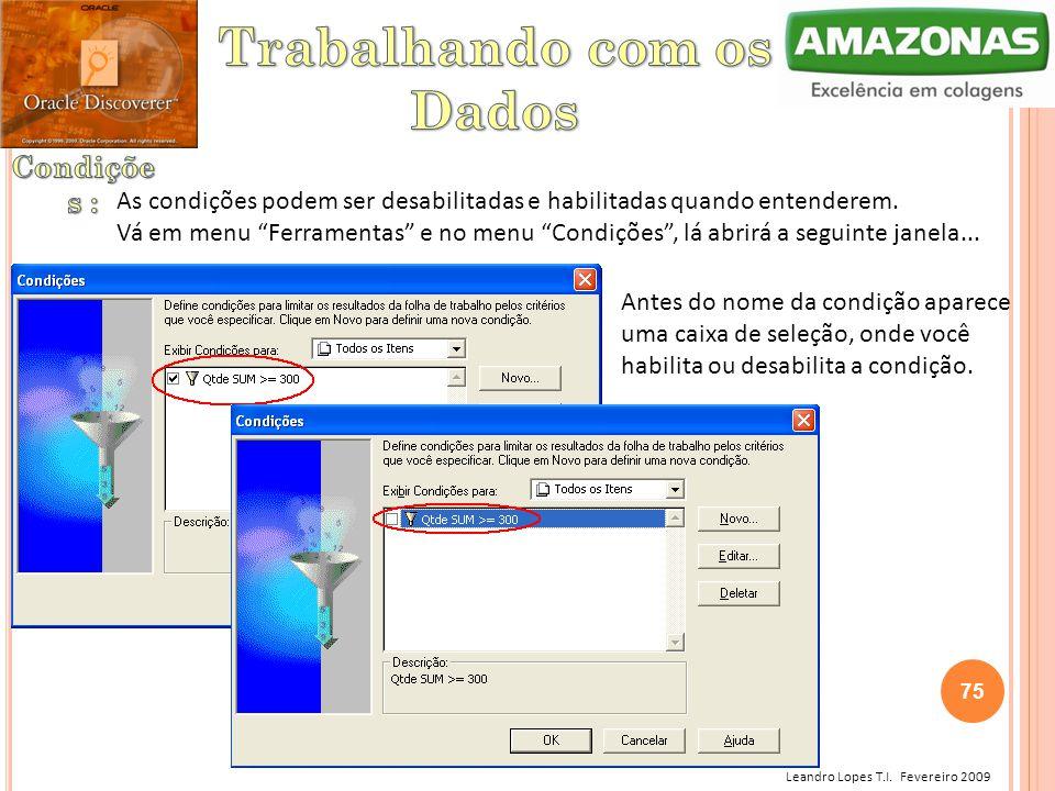 """Leandro Lopes T.I. Fevereiro 2009 As condições podem ser desabilitadas e habilitadas quando entenderem. Vá em menu """"Ferramentas"""" e no menu """"Condições"""""""