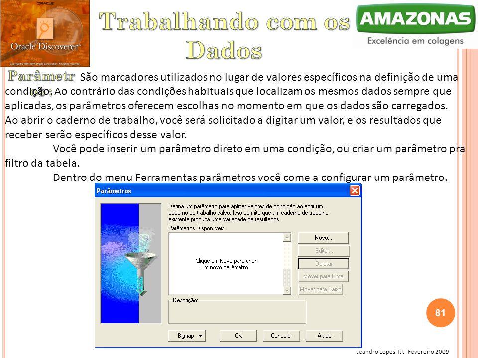 Leandro Lopes T.I. Fevereiro 2009 São marcadores utilizados no lugar de valores específicos na definição de uma condição. Ao contrário das condições h