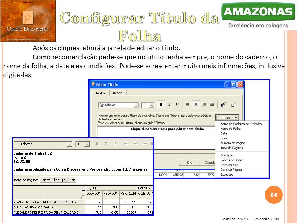 Leandro Lopes T.I. Fevereiro 2009 Após os cliques, abrirá a janela de editar o título. Como recomendação pede-se que no título tenha sempre, o nome do