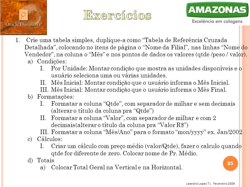 """Leandro Lopes T.I. Fevereiro 2009 1. Crie uma tabela simples, duplique-a como """"Tabela de Referência Cruzada Detalhada"""", colocando no itens de página o"""