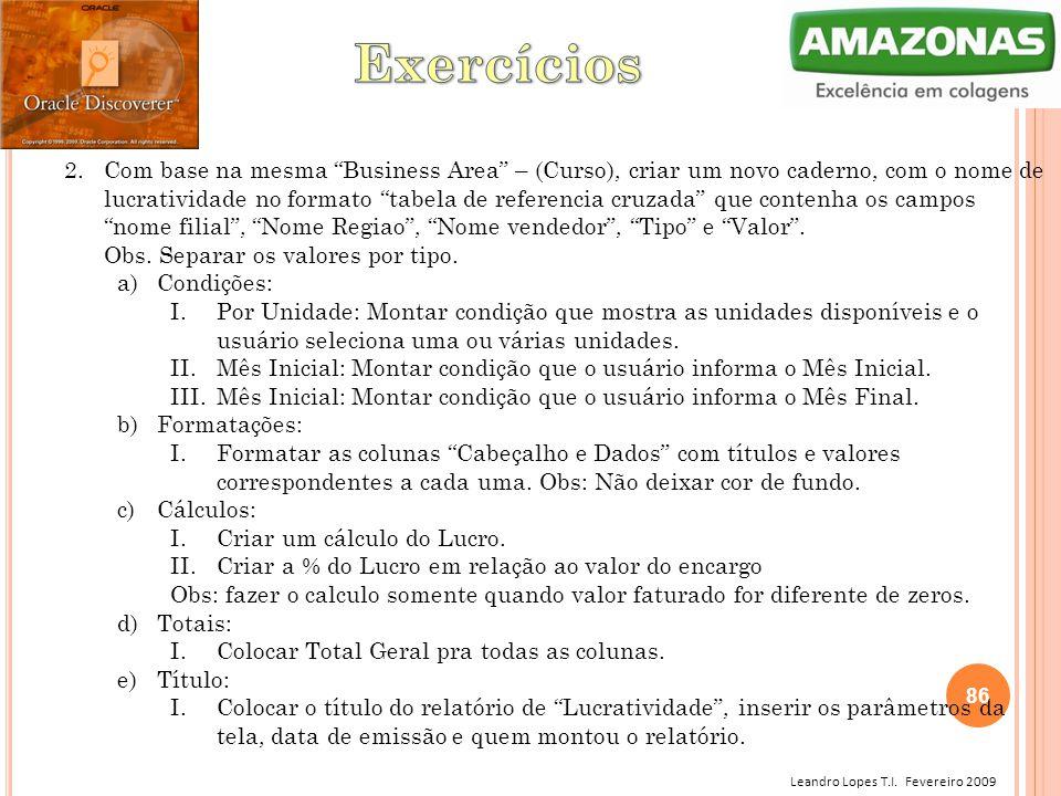 """Leandro Lopes T.I. Fevereiro 2009 2.Com base na mesma """"Business Area"""" – (Curso), criar um novo caderno, com o nome de lucratividade no formato """"tabela"""