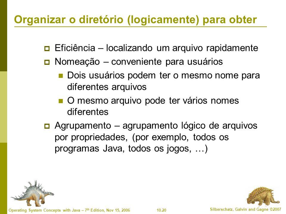 10.20 Silberschatz, Galvin and Gagne ©2007 Operating System Concepts with Java – 7 th Edition, Nov 15, 2006 Organizar o diretório (logicamente) para o