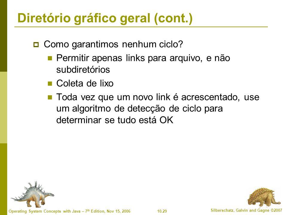 10.29 Silberschatz, Galvin and Gagne ©2007 Operating System Concepts with Java – 7 th Edition, Nov 15, 2006 Diretório gráfico geral (cont.)  Como garantimos nenhum ciclo.