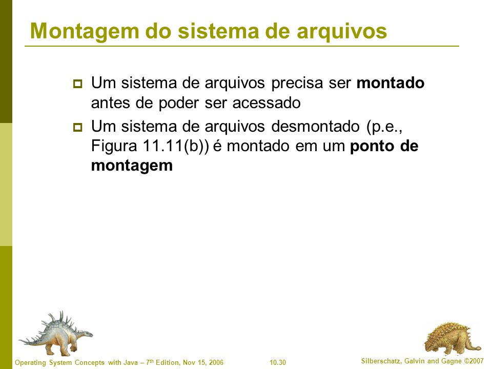 10.31 Silberschatz, Galvin and Gagne ©2007 Operating System Concepts with Java – 7 th Edition, Nov 15, 2006 Partição (a) existente (b) desmontada