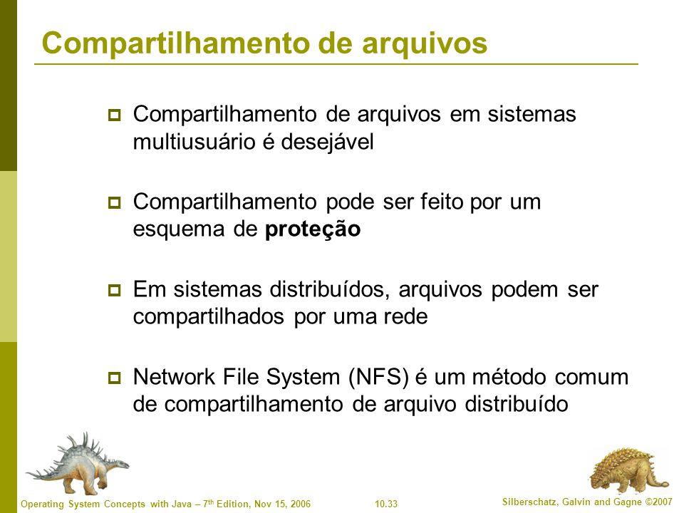 10.33 Silberschatz, Galvin and Gagne ©2007 Operating System Concepts with Java – 7 th Edition, Nov 15, 2006 Compartilhamento de arquivos  Compartilhamento de arquivos em sistemas multiusuário é desejável  Compartilhamento pode ser feito por um esquema de proteção  Em sistemas distribuídos, arquivos podem ser compartilhados por uma rede  Network File System (NFS) é um método comum de compartilhamento de arquivo distribuído