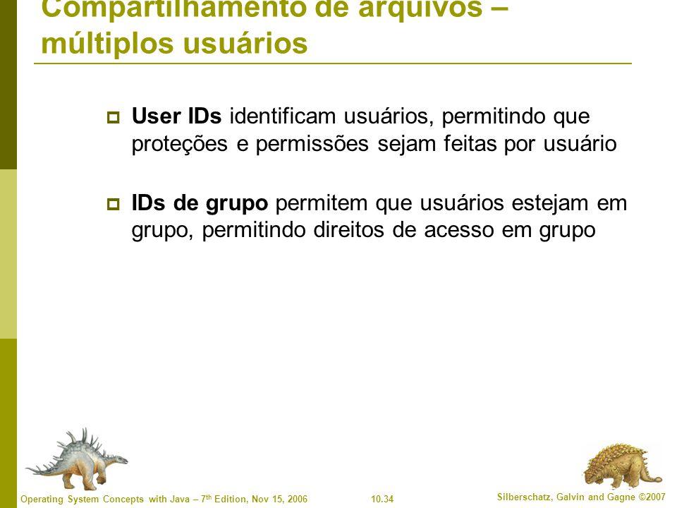 10.34 Silberschatz, Galvin and Gagne ©2007 Operating System Concepts with Java – 7 th Edition, Nov 15, 2006 Compartilhamento de arquivos – múltiplos usuários  User IDs identificam usuários, permitindo que proteções e permissões sejam feitas por usuário  IDs de grupo permitem que usuários estejam em grupo, permitindo direitos de acesso em grupo