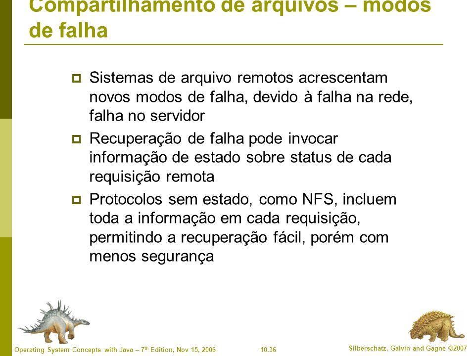 10.36 Silberschatz, Galvin and Gagne ©2007 Operating System Concepts with Java – 7 th Edition, Nov 15, 2006 Compartilhamento de arquivos – modos de falha  Sistemas de arquivo remotos acrescentam novos modos de falha, devido à falha na rede, falha no servidor  Recuperação de falha pode invocar informação de estado sobre status de cada requisição remota  Protocolos sem estado, como NFS, incluem toda a informação em cada requisição, permitindo a recuperação fácil, porém com menos segurança