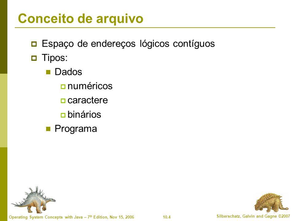 10.4 Silberschatz, Galvin and Gagne ©2007 Operating System Concepts with Java – 7 th Edition, Nov 15, 2006 Conceito de arquivo  Espaço de endereços l