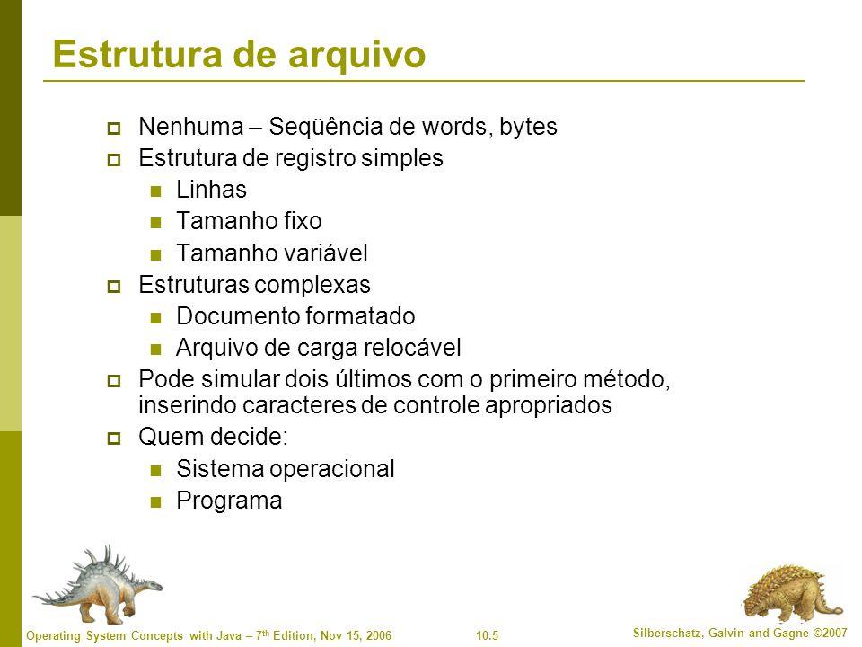 10.5 Silberschatz, Galvin and Gagne ©2007 Operating System Concepts with Java – 7 th Edition, Nov 15, 2006 Estrutura de arquivo  Nenhuma – Seqüência