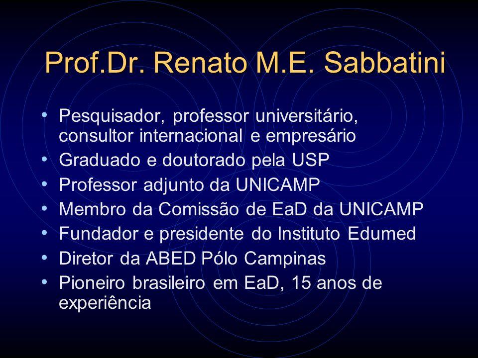 Prof.Dr. Renato M.E. Sabbatini Pesquisador, professor universitário, consultor internacional e empresário Graduado e doutorado pela USP Professor adju