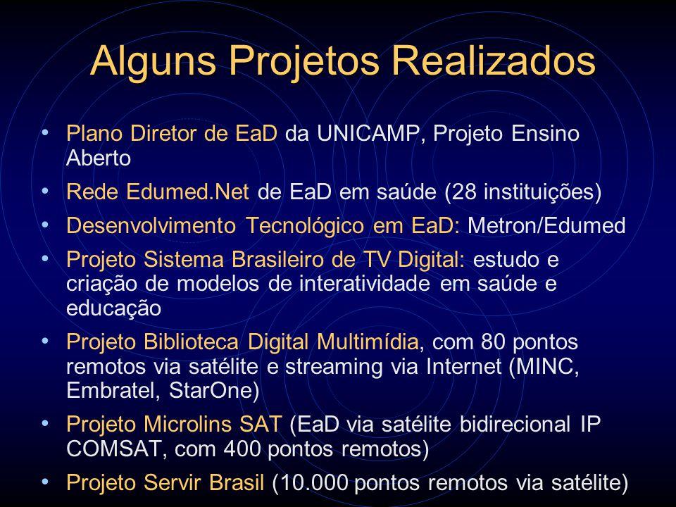 Alguns Projetos Realizados Plano Diretor de EaD da UNICAMP, Projeto Ensino Aberto Rede Edumed.Net de EaD em saúde (28 instituições) Desenvolvimento Te
