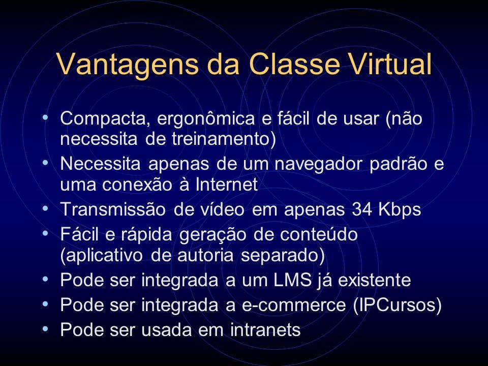 Vantagens da Classe Virtual Compacta, ergonômica e fácil de usar (não necessita de treinamento) Necessita apenas de um navegador padrão e uma conexão