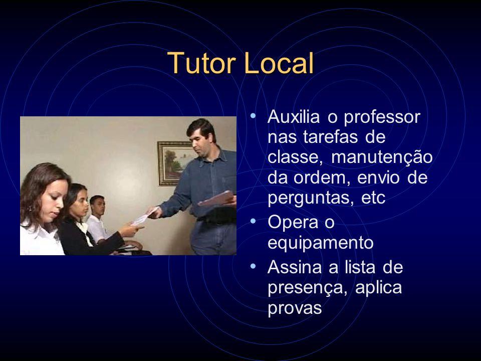 Tutor Local Auxilia o professor nas tarefas de classe, manutenção da ordem, envio de perguntas, etc Opera o equipamento Assina a lista de presença, ap
