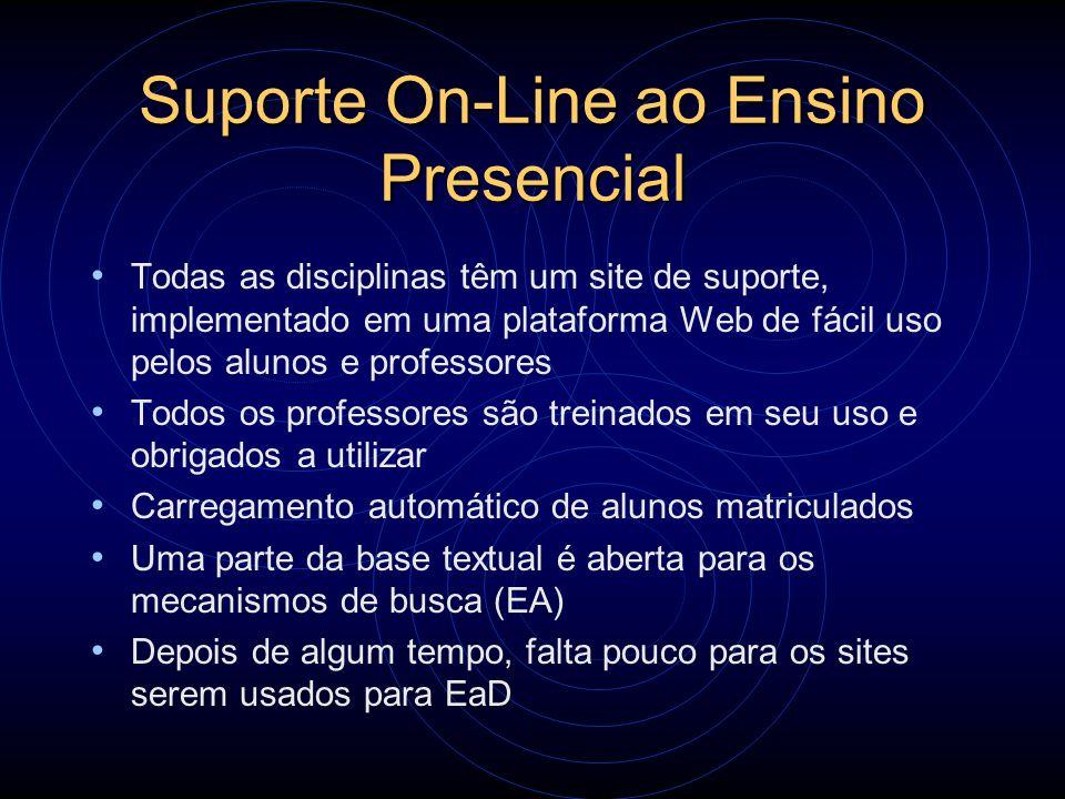 Suporte On-Line ao Ensino Presencial Todas as disciplinas têm um site de suporte, implementado em uma plataforma Web de fácil uso pelos alunos e profe