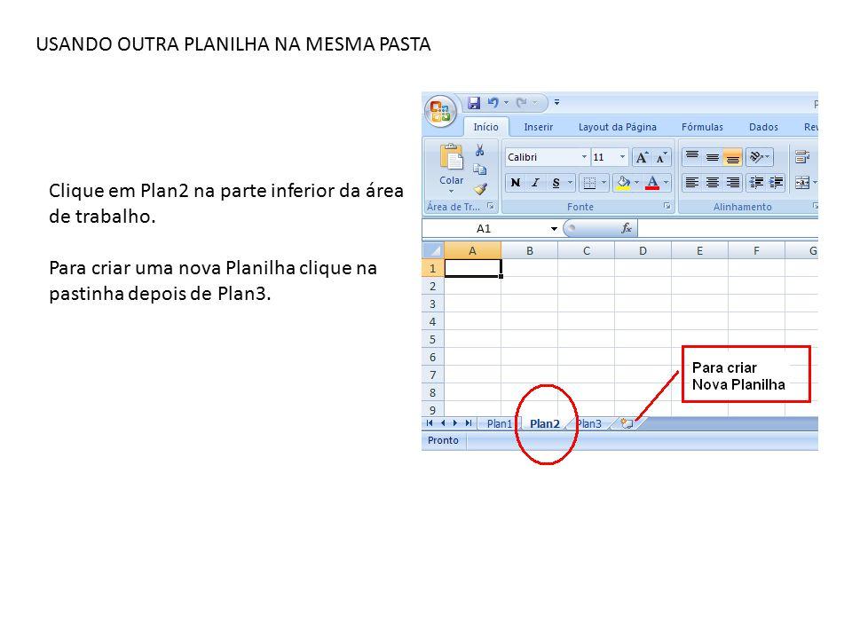 USANDO OUTRA PLANILHA NA MESMA PASTA Clique em Plan2 na parte inferior da área de trabalho.