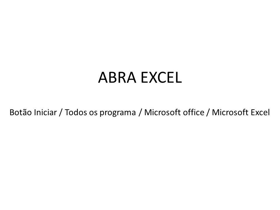 ABRA EXCEL Botão Iniciar / Todos os programa / Microsoft office / Microsoft Excel