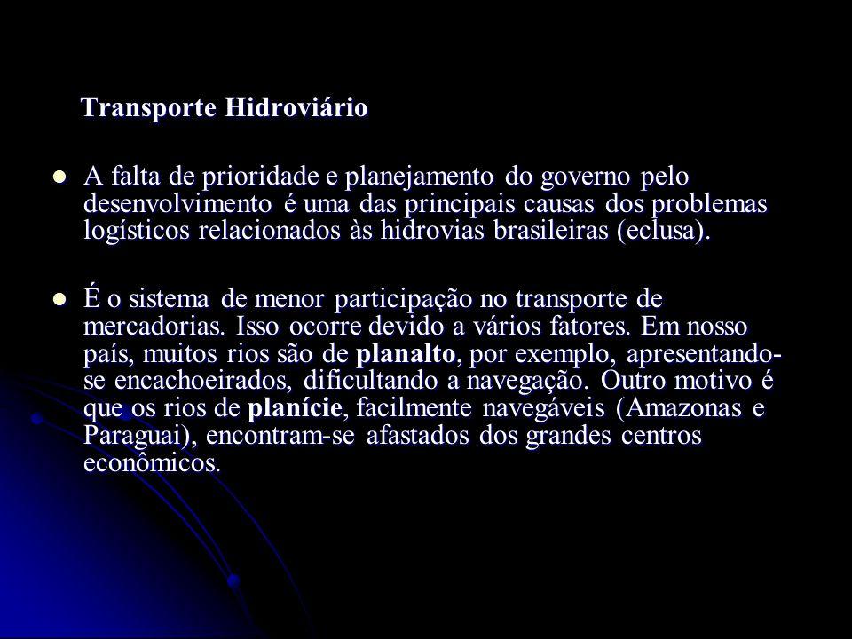 Transporte Hidroviário Transporte Hidroviário A falta de prioridade e planejamento do governo pelo desenvolvimento é uma das principais causas dos pro