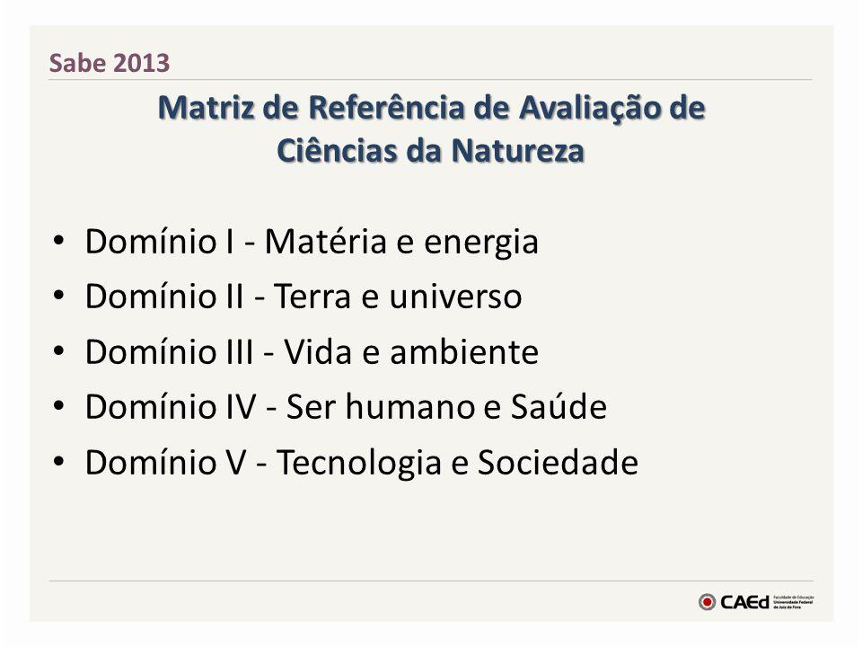 Matriz de Referência de Avaliação de Ciências da Natureza Domínio I - Matéria e energia Domínio II - Terra e universo Domínio III - Vida e ambiente Do