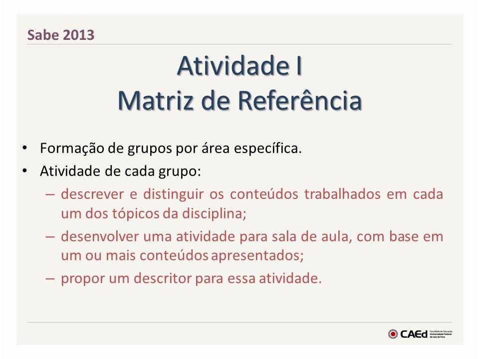 Atividade I Matriz de Referência Formação de grupos por área específica. Atividade de cada grupo: – descrever e distinguir os conteúdos trabalhados em