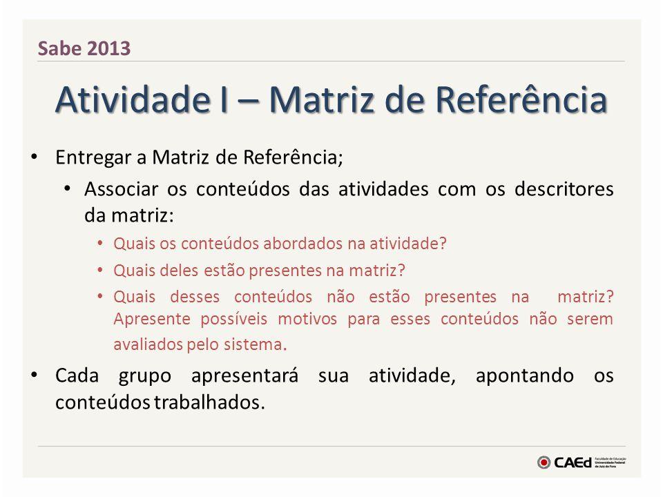 Atividade I – Matriz de Referência Entregar a Matriz de Referência; Associar os conteúdos das atividades com os descritores da matriz: Quais os conteú