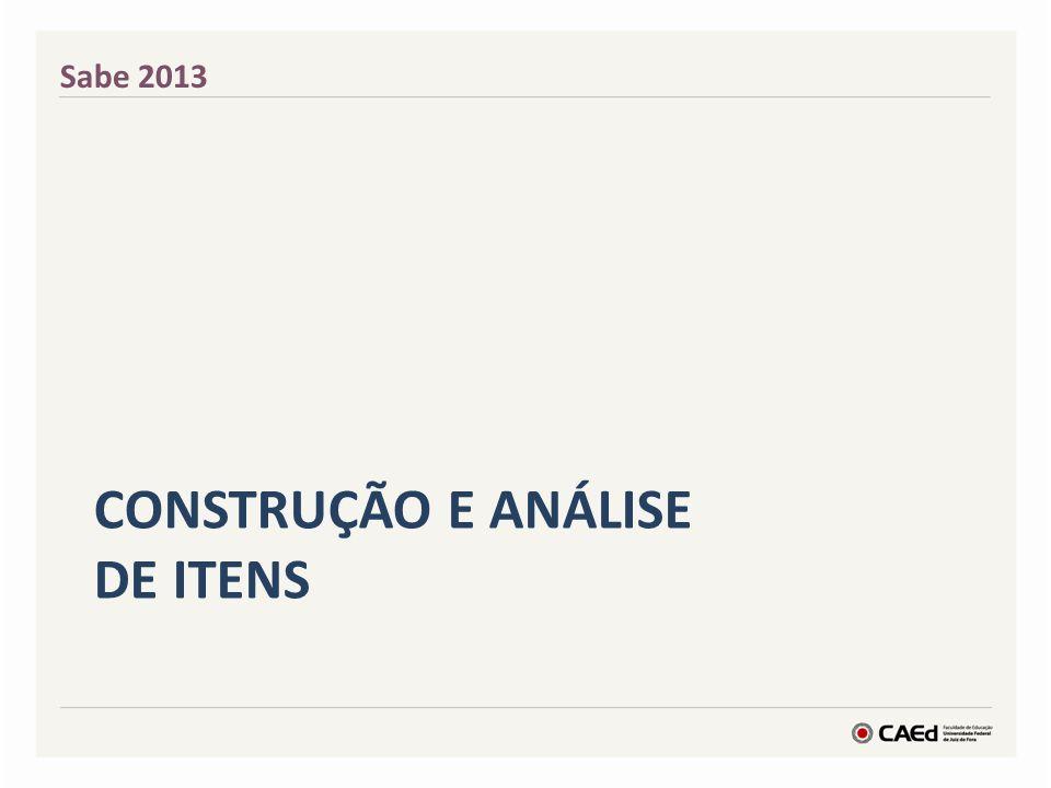 CONSTRUÇÃO E ANÁLISE DE ITENS Sabe 2013