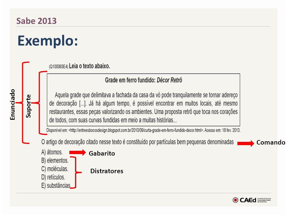 Sabe 2013 Enunciado Suporte Comando Distratores Gabarito Exemplo: