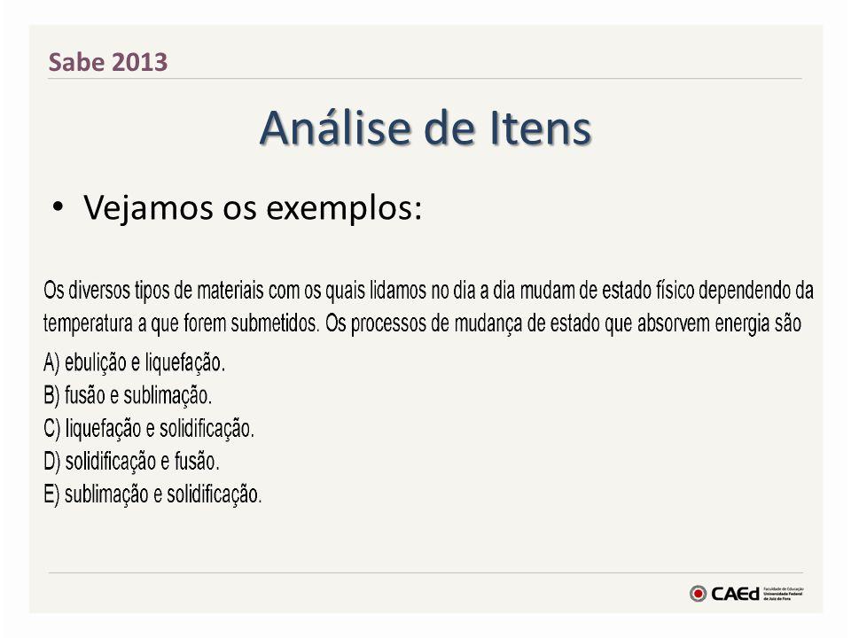 Análise de Itens Vejamos os exemplos: Sabe 2013