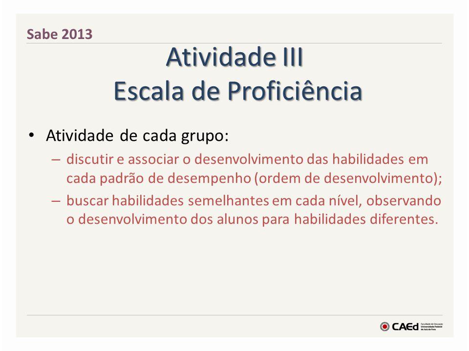 Atividade III Escala de Proficiência Atividade de cada grupo: – discutir e associar o desenvolvimento das habilidades em cada padrão de desempenho (or