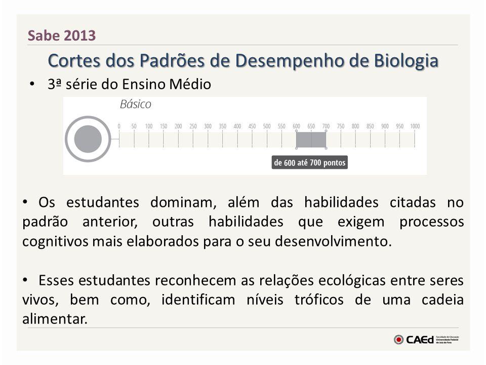 Cortes dos Padrões de Desempenho de Biologia 3ª série do Ensino Médio Sabe 2013 Os estudantes dominam, além das habilidades citadas no padrão anterior