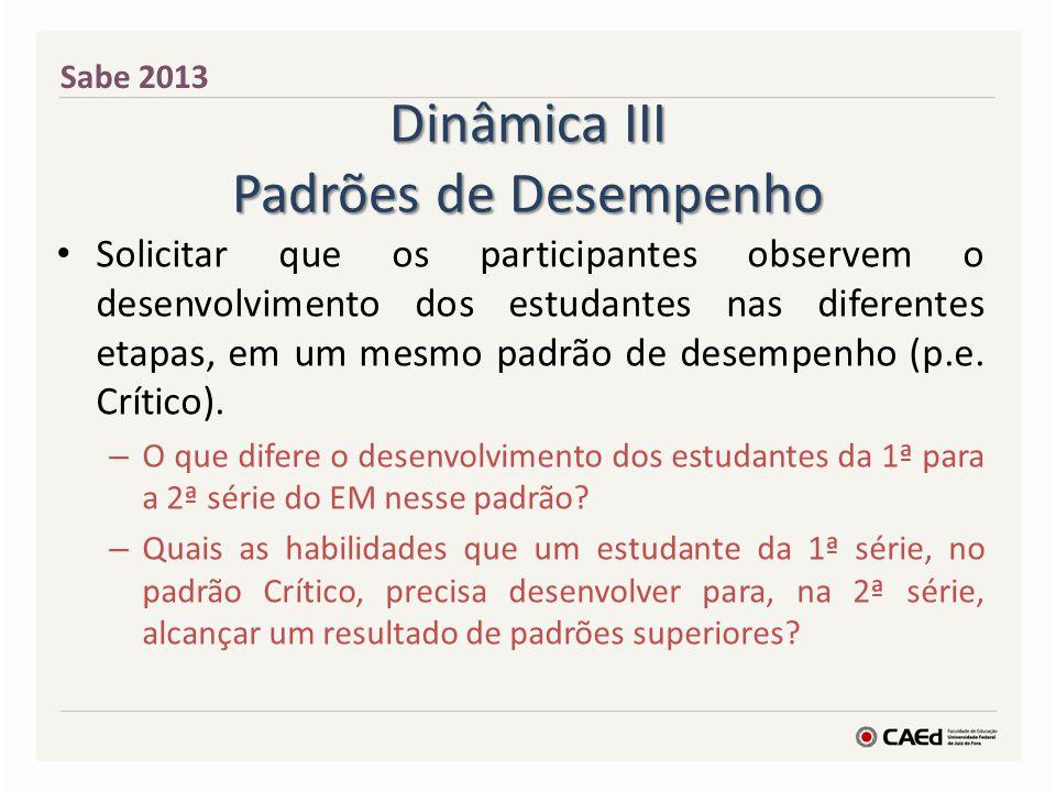 Dinâmica III Padrões de Desempenho Solicitar que os participantes observem o desenvolvimento dos estudantes nas diferentes etapas, em um mesmo padrão