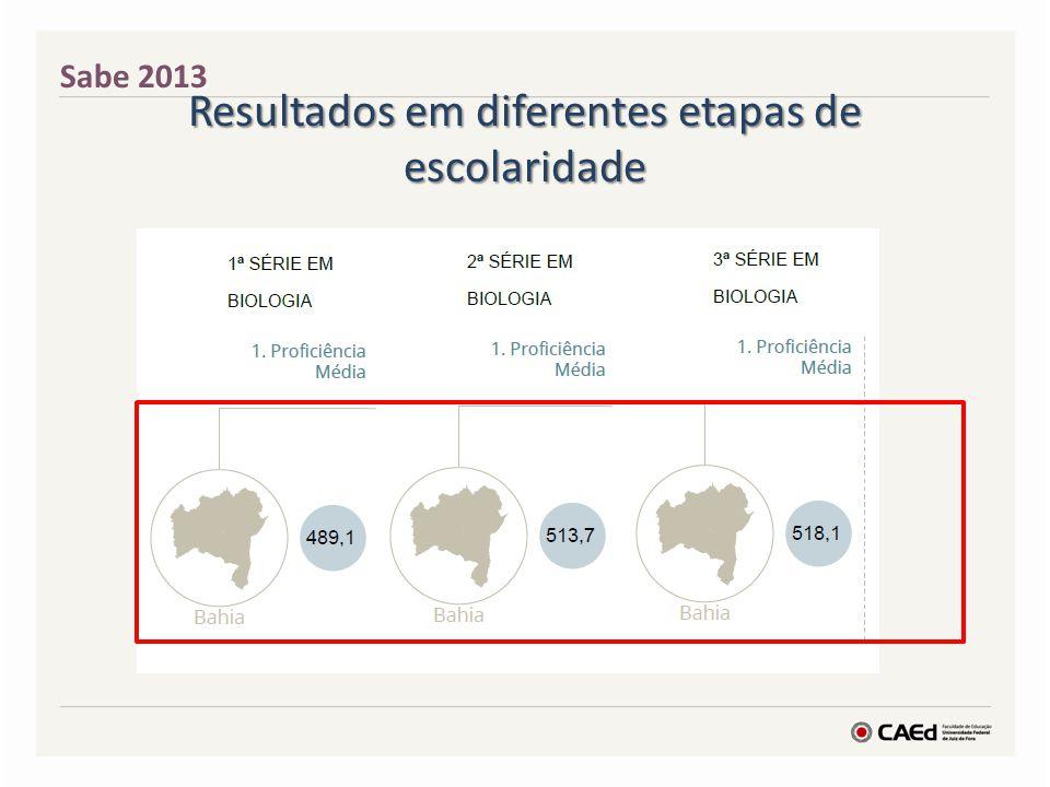 Resultados em diferentes etapas de escolaridade Sabe 2013