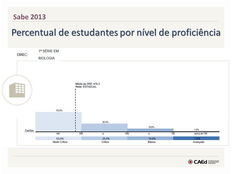 Sabe 2013 Percentual de estudantes por nível de proficiência