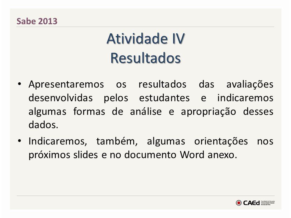 Atividade IV Resultados Apresentaremos os resultados das avaliações desenvolvidas pelos estudantes e indicaremos algumas formas de análise e apropriaç