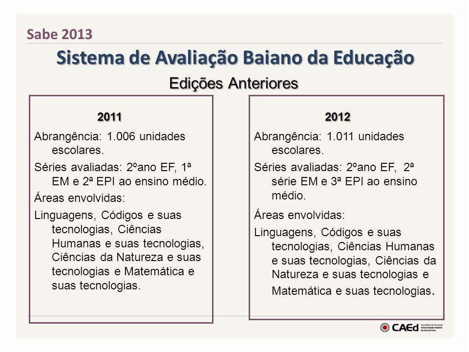 Sistema de Avaliação Baiano da Educação 2011 2011 Abrangência: 1.006 unidades escolares. Séries avaliadas: 2ºano EF, 1ª EM e 2ª EPI ao ensino médio. Á